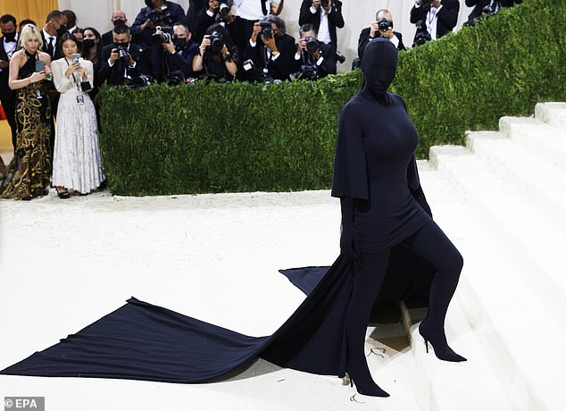 A change:Also on Monday, Kim was seen in all black with her face covered at the Met Gala in NYC. Her outfit has received criticism and has resulted in dozens of wild memes