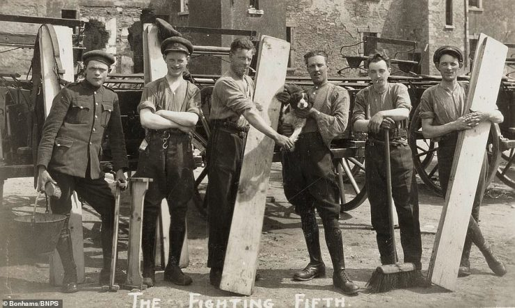 This photograph has the caption 'The Fighting Fifth' - a nickname previously given to The Royal Northumberland Fusiliers