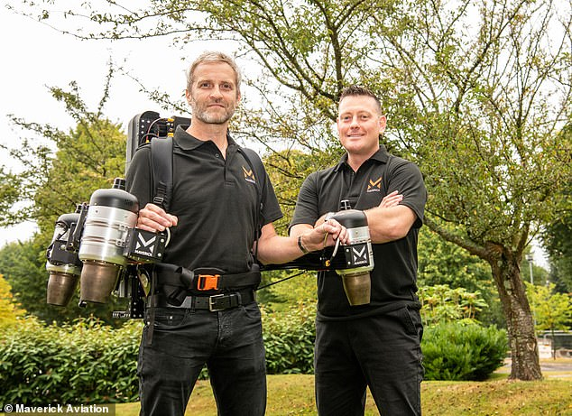 The Maverick jetpack is the brainchild of Hollywood animatronics specialist Matt Denton (pictured left) and Royal Navy Commander Antony Quinn (pictured right).