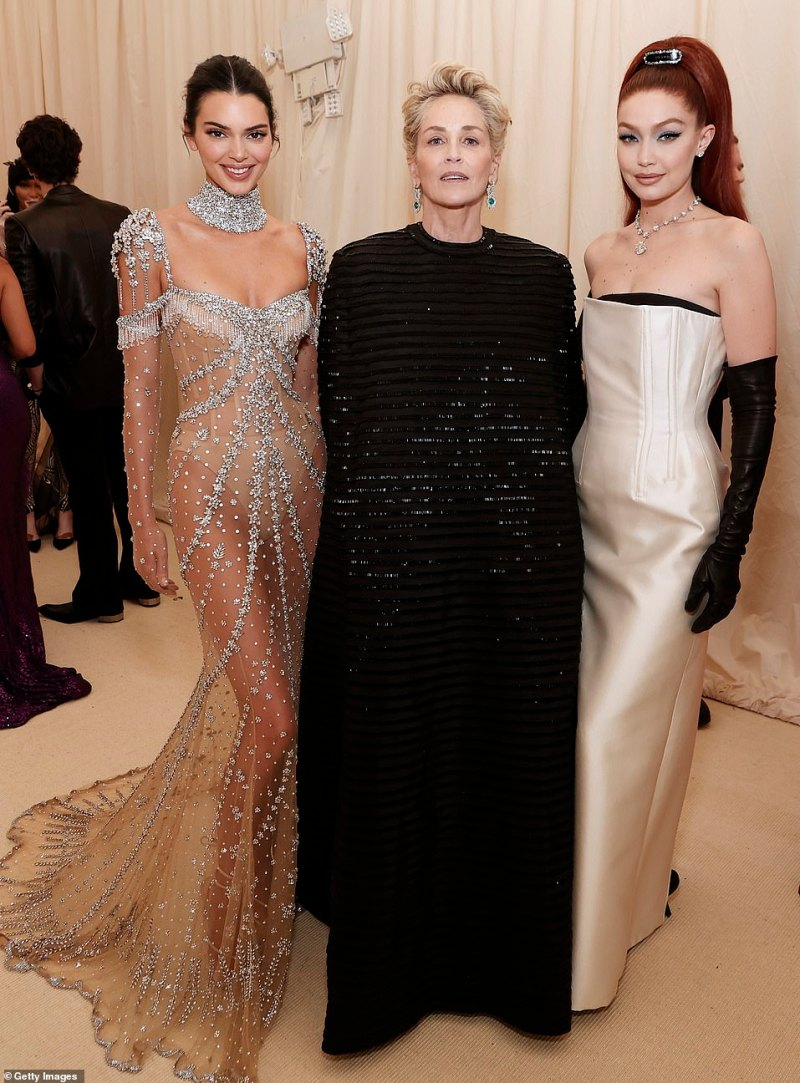 Drama:Inside, Kendall and Gigi looked proud as they posed with actress Stone who has been in dozens of movies such as Basic Instinct, Casino, The Quick And The Dead, Sliver, Fading Gigolo, and the series Mosaic and Ratched