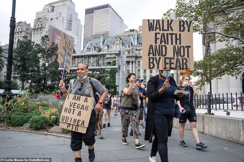 Protesters hold signs that read 'I am a vegan, not a guinea pig' and 'Walk by faith and not by fear'