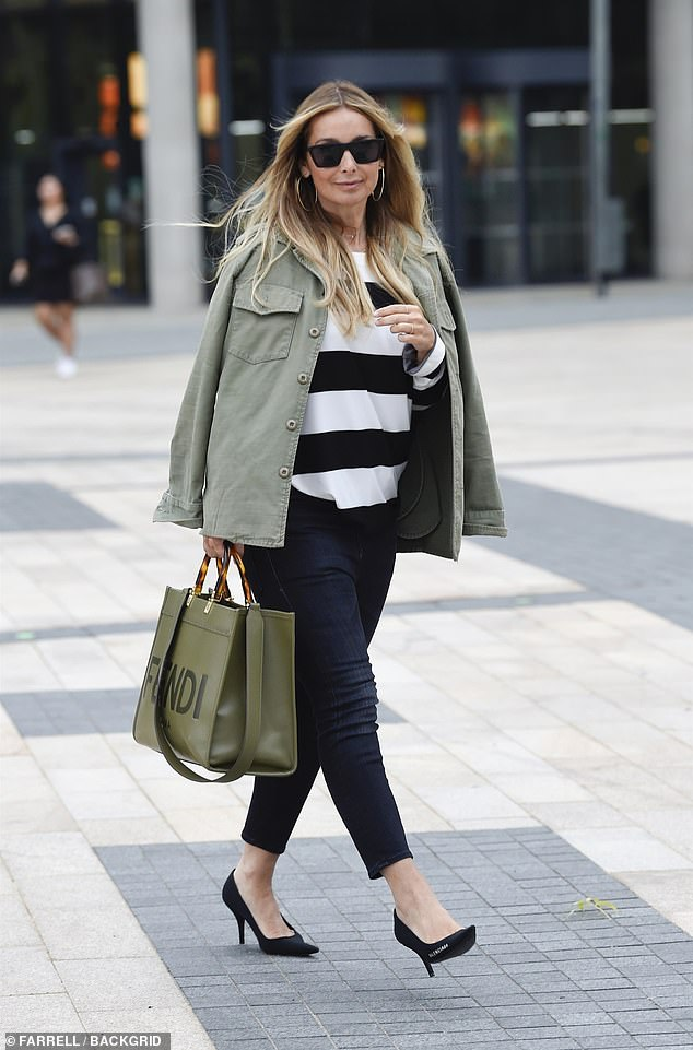 Looking good: Louise Redknapp made a stylish exit from the BBC Breakfast Studios at Media City in Salford on Tuesday