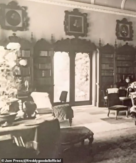 Old photographs of Freddy's family home showing one of the rooms back in 1870