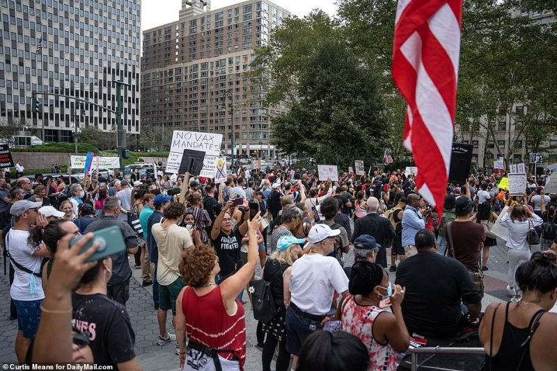The protest was held on the same day that New York City's policy requiring bars, restaurants, and gyms to demand proof of vaccination went into effect
