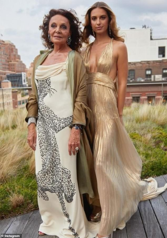 Dolled up: The von Furstenberg women got ready together ahead of the event