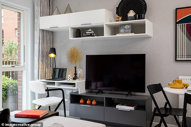 The 'office niche' in the living area provides a small work-from-home space