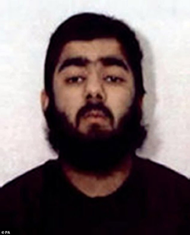 """A jury at an inquest into the terror attack at Fishmongers' Hall has found Jack Merritt, 25, and Saskia Jones, 23, were """"unlawfully killed"""" during an attack by convicted terrorist Usman Khan (pictured)"""