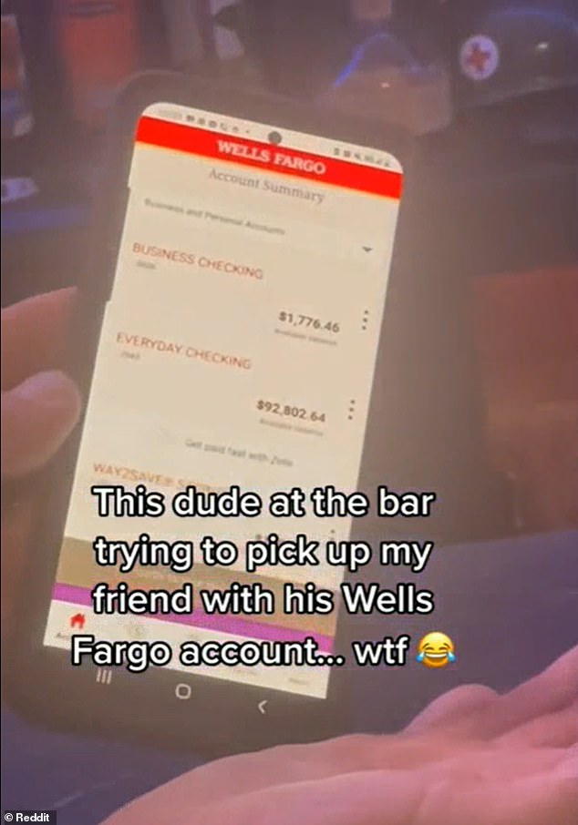 Yikes!A single man is being mocked as cringeworthy and 'pathetic' for trying to pick up a woman at a bar by showing her the contest of his bank account