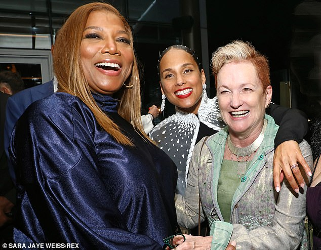 Come together!  Keys beamed with joy with Queen Latifah and her mother Terria Joseph