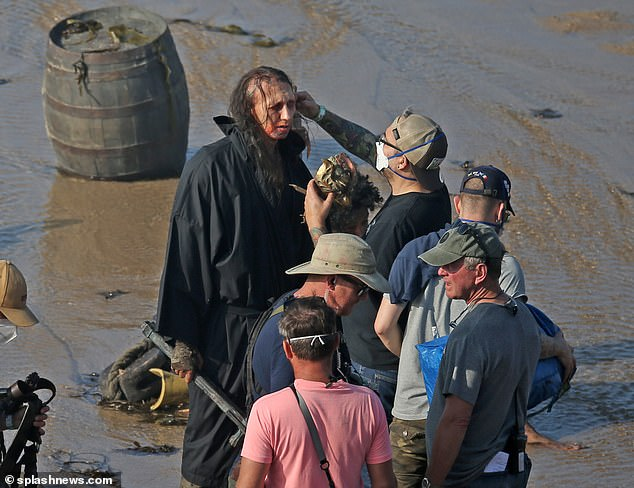 On location:One cast member was also seen getting bloody makeup applied before having armour put on