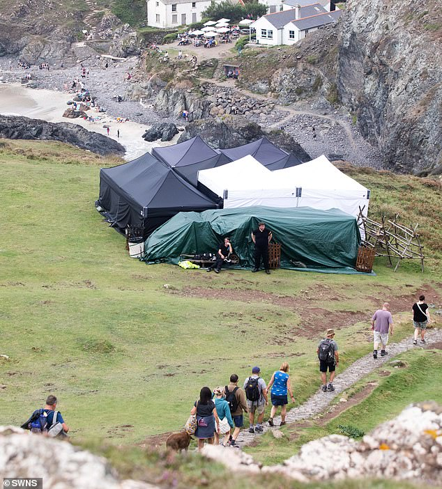 Crew: Several tents were set up near the beach for the cast and crew to make use of between takes
