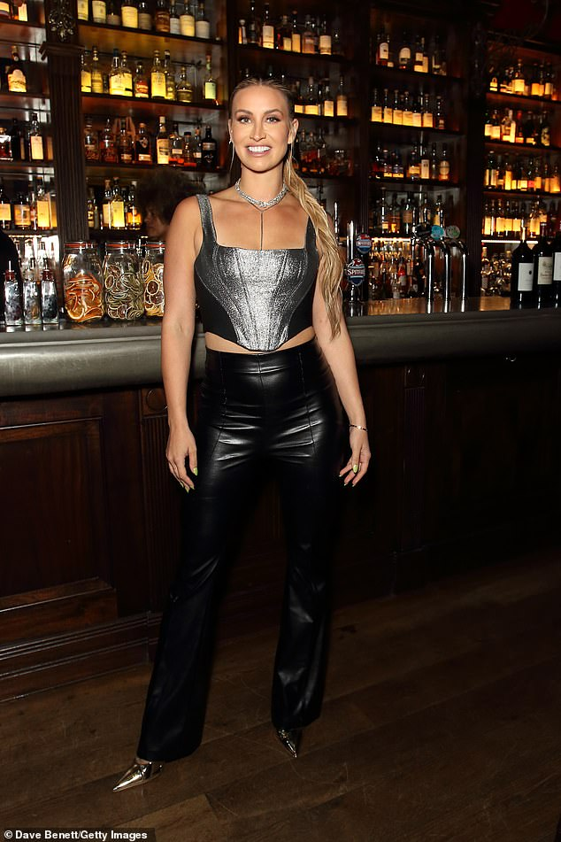 Wow!The reality star wowed in a sparkly silver crop top and skin-tight leather trousers at the event, which Ferne kindly hosted