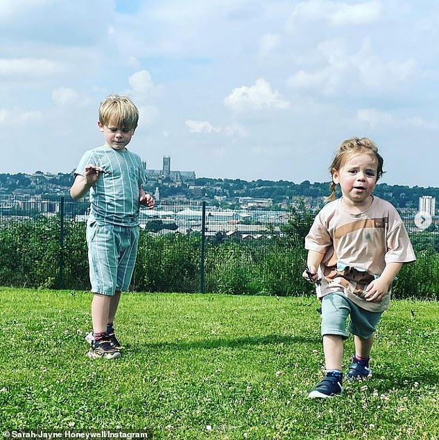 Family life:The star lives in the city of Lincoln with her Hollyoaks star husband and their sons Phoenix, six and Indiana, three