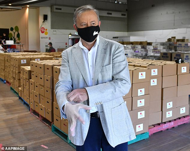 Federal Opposition Leader Anthony Albanese joins volunteers packing hampers at Addison Road Community Organisation at Marrickville on Tuesday