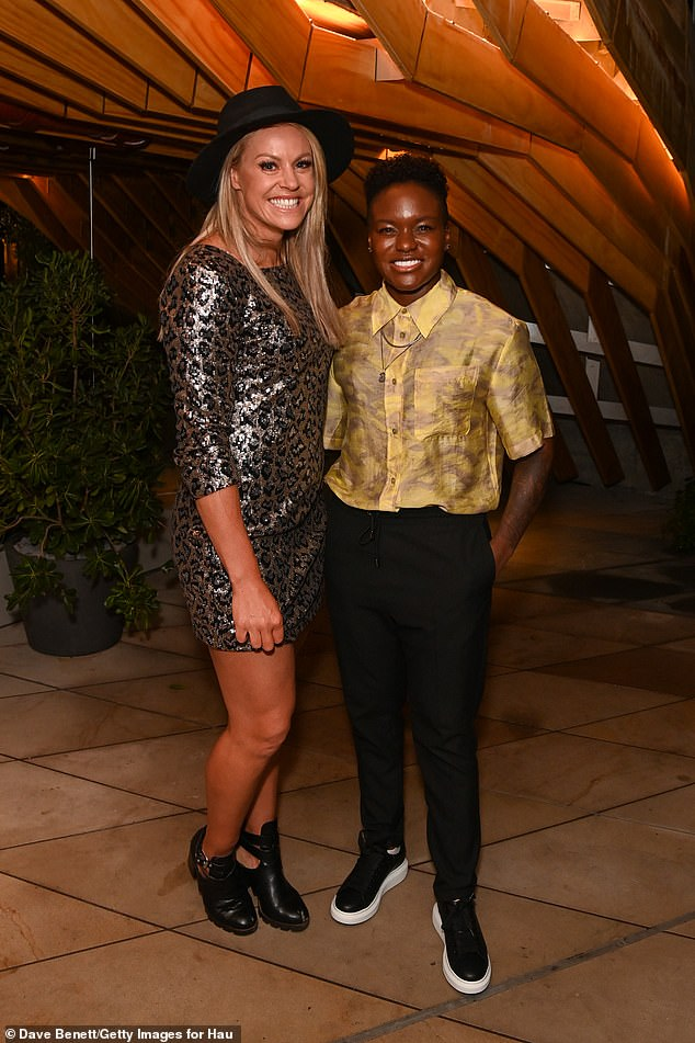 Double Trouble: Nicola posed with Alpine ski racer Chemi Alcotta at the event