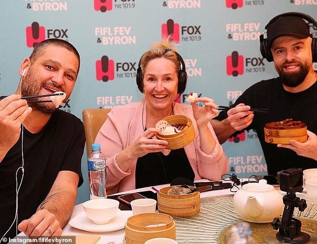 Colleagues: Byron quit Melbourne's Fox FM in November 2020 to focus on his podcast and spend more time with his family. Pictured withFifi Box (centre) and Brendan Fevola (left)