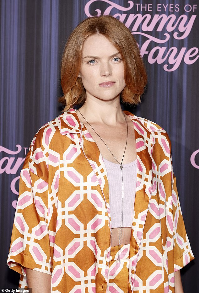 Finishing touches:The Welsh actress, 35, completed the ensemble with a pale pink crop top and a pair of wedge sandals
