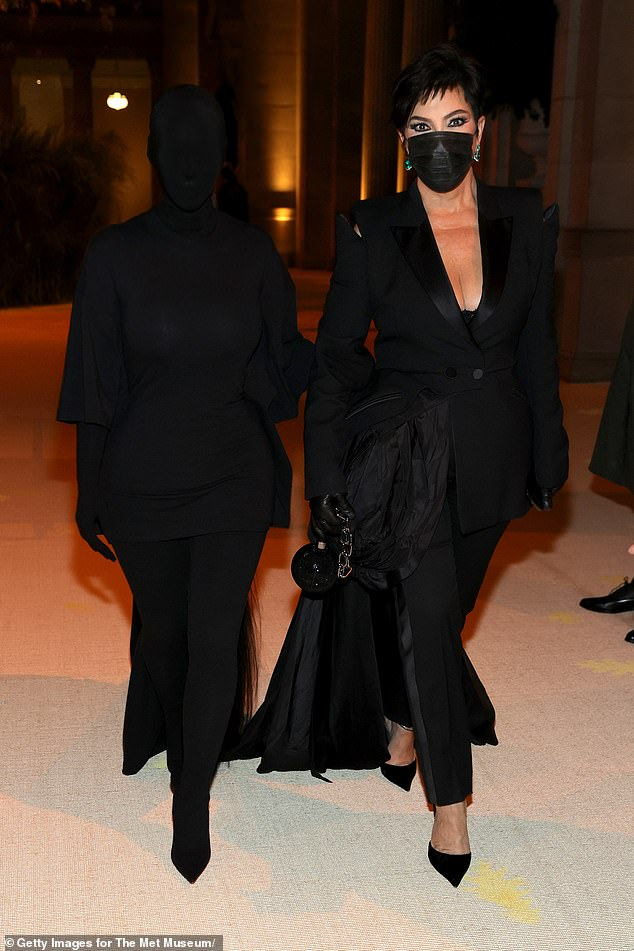 Dark side: Kim was also joined by momager Kris Jenner