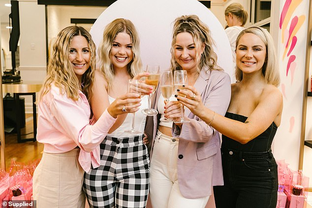 Event:The Bachelor star, 32, looked stylish in a pink tie-front crop top and brown pants as she joined Alisha Aitken-radburn, Stephanie Lynch and Clare Lange at the event