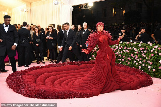 What a mistake! Footage played of Cardi B at the Met Gala in 2019 (pictured)