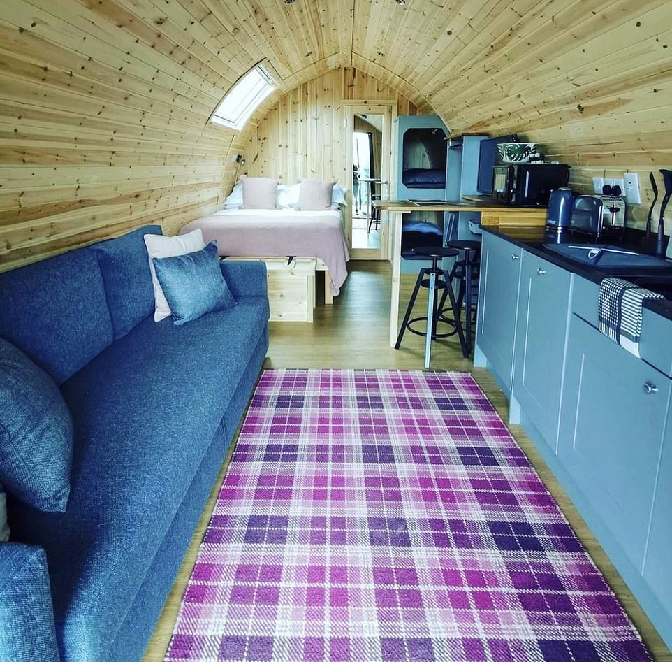 This shot shows the smart interiors of the glamping pods, whichsleep up to four or two adults and three children - and they come with ensuite shower rooms
