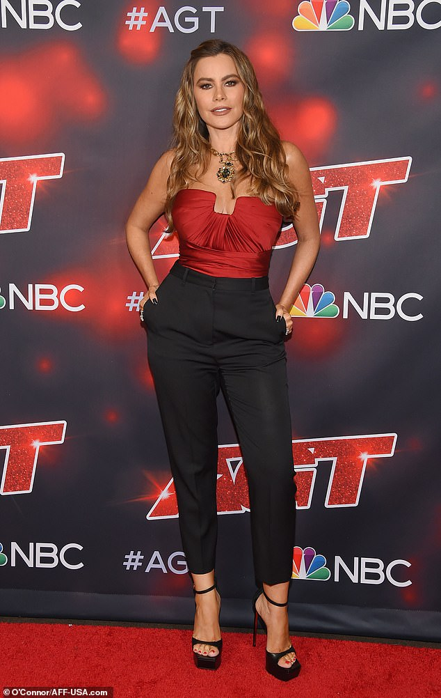 Curves for days:The 49-year-old actress highlighted her ample chest in a strapless red bustier top and a pair if form-fitting cigarette pants