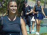 April Love Geary serves up heat in tiny tennis skirt for doubles action with Robin Thicke in Malibu