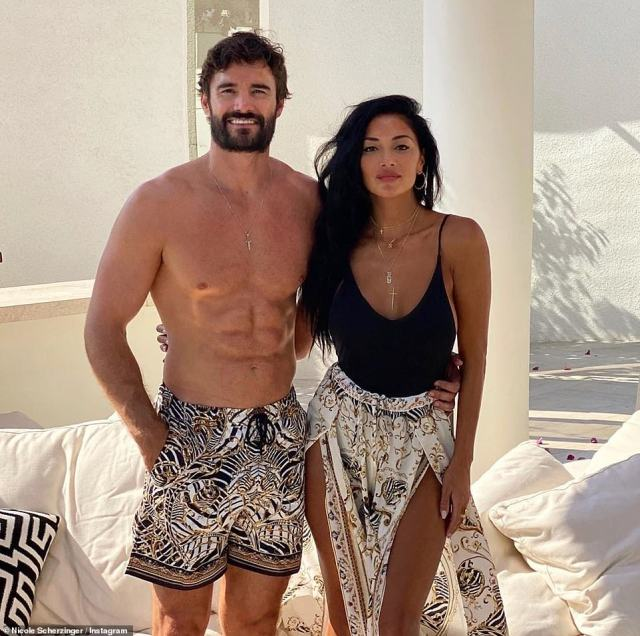 Now: Nicole is now in a relationship with rugby hunk Thom Evans (right) after meeting on Celebrity X Factor