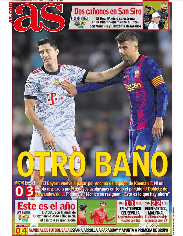 AS say 'another bath', in reference to yet another damaging result for Barcelona against Bayern