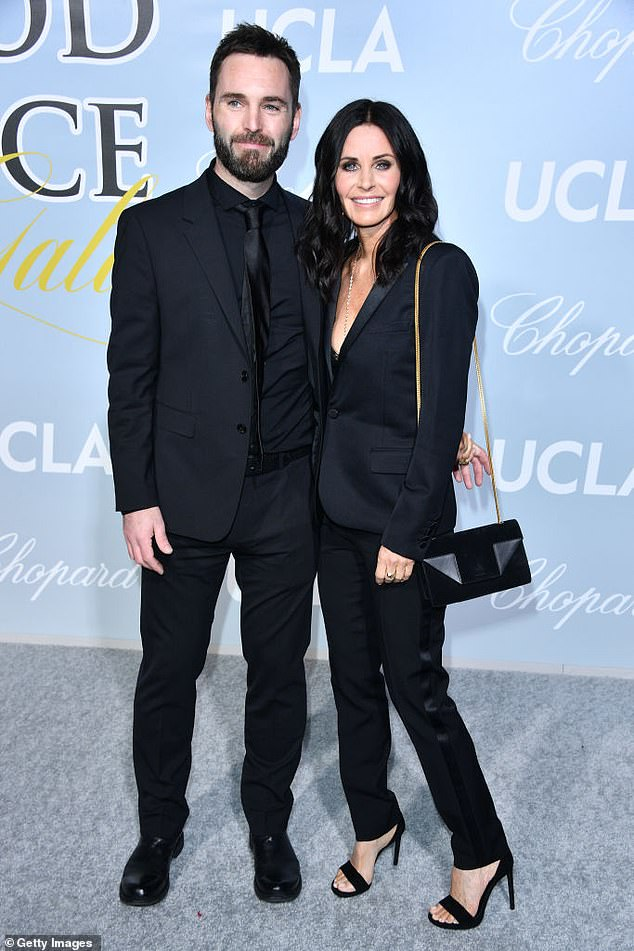 Socializing in the studio: The Friends actress became close to Ed after dating her producer and collaborator Johnny McDaid for the past seven years
