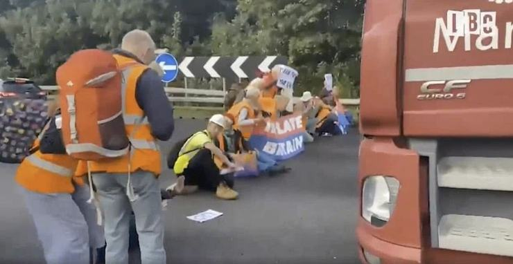 More than 80 climate anarchists set up roadblocks on the M25 during rush hour today for the second time this week in an apparent bid to force action to reverse climate change and save the planet