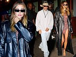 Hailey Bieber shows off her model legs as she leaves Scooter Braun's party with husband Justin