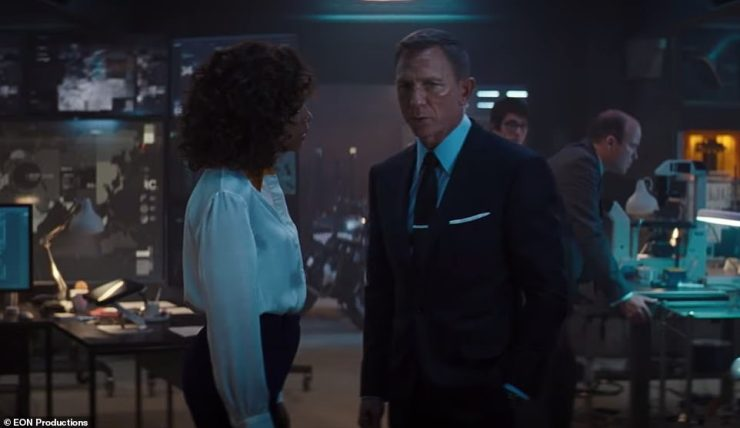 Confusion: In the footage, Bond is interrogated at MI6's London HQ on whether his beau is one of the enemy, to which he darkly replies: 'I don't know her at all.'