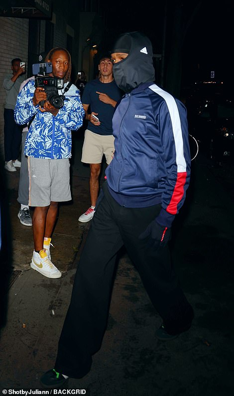 Covered up: ASAP Rocky kept it low key as he left Scooter Braun's private dinner at Carbone