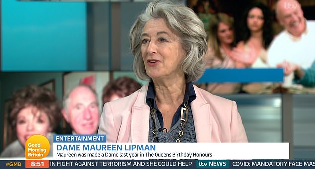 Appearing on Good Morning Britain today, Dame Maureen, 75, who plays Evelyn Plummer on the series, said the royal asked her about her dog and 'popped out of a plum car' to chat with everyone on set