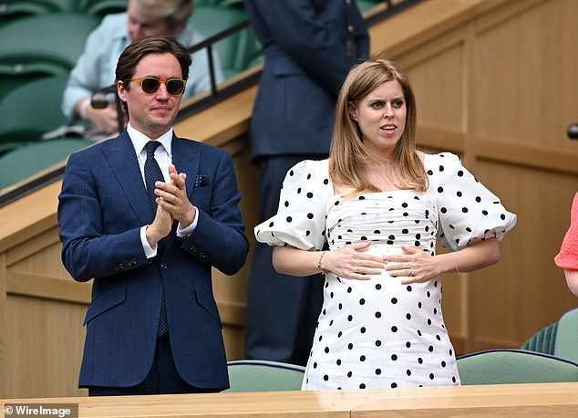 Beatrice, who is ninth in line to the throne, is the only princess in the British royal family to have married someone with children and gave birth to a stepchild.  She is photographed with Edo at this year's Wimbledon