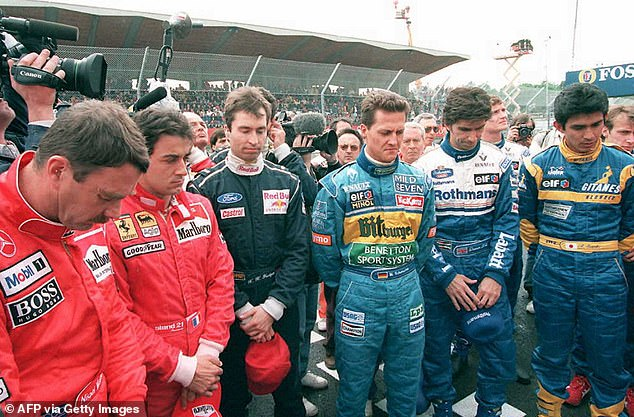 Michael Schumacher (third from right) feared for his own life after the death of Ayrton Senna