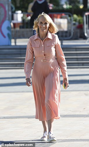 Looking gorgeous: Louise opted for a beautiful peach-hued dress for her last day on air