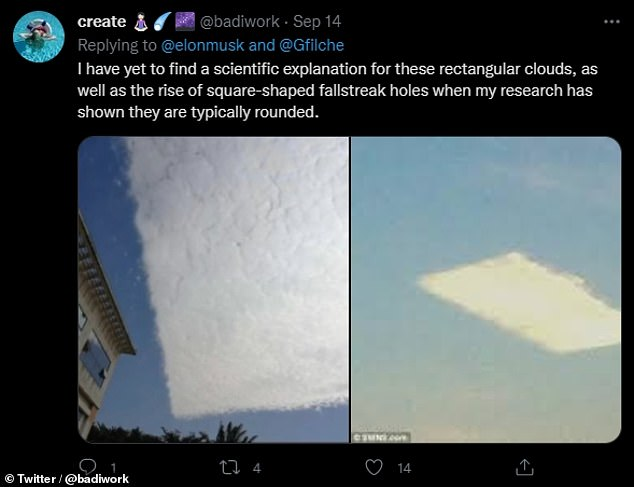 Yesterday's tweet was not Mr. Musk's first comment on the potential for the existence of UFOs and extraterrestrial life.  Image: Twitter users posted strange pictures of clouds