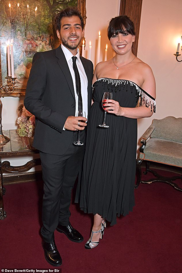 Cute: Daisy cosied up to her boyfriend Jordan as she attended the Bird in Hand Wine's Sparkling 2021 dinner at Fortnum & Mason a week ago in London