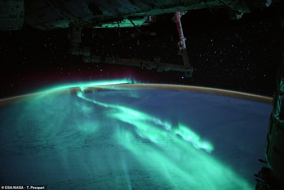 Thomas Pesquet captured breathtaking images of the Southern Lights under the full moon from the International Space Station