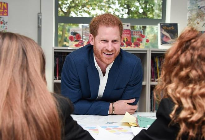 The Royal family shared a picture of Harry visiting a school in Nottingham in 2019, where heas on an away-day to meet young people at community projects aimed at improving mental well-being