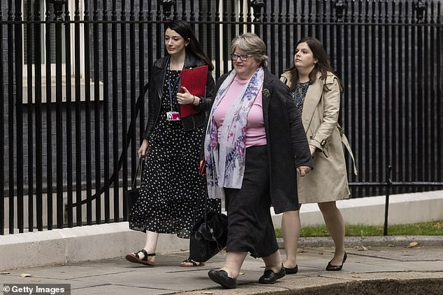 Labor and Retirement Secretary Therese Coffey was in Downing Street today when the reshuffle was confirmed - but then went to the Commons to lead the government on a debate in the opposition, suggesting she is not on the move