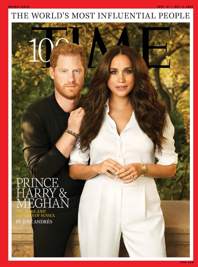 The Duchess of Sussex, 40, made a very glamorous appearance after being styled by an A-list team of experts as she posed with husband Prince Harry for the cover of The Times magazine (pictured)