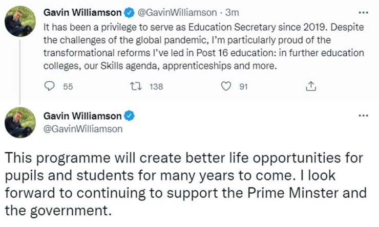 Gavin Williamson tweeted this afternoon that he is out of the Department for Education, and suggested he is leaving government altogether