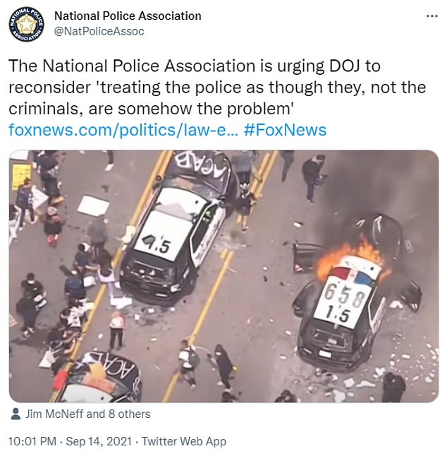 National Police Associationurged the Department of Justice to reconsider its ban on chokeholds and no-knock warrants and said this 'hamstrings' officers' legal actions to arrest violent offenders 'to pander to an anti-police narrative'