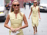 Amanda Holden is the epitome of chic in a knee-length lemon dress as she heads to work at Heart FM