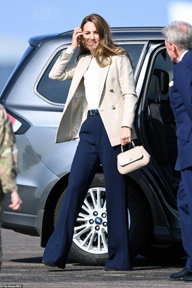 The Duchess of Cambridge visits RAF Brize Norton in Oxfordshire today to meet people who helped with the evacuation