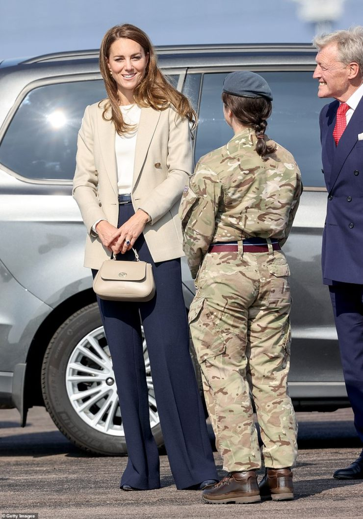 The Duchess of Cambridge arrives today to meet RAF aircrews and medics who supported evacuees at Kabul Airport