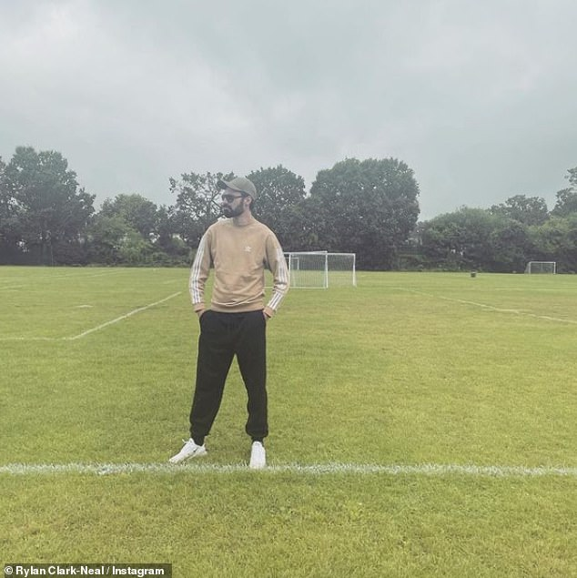 New project? Rylan Clark-Neal posted a rare Instagram update on Wednesday posing on a football pitch